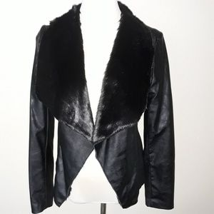 Worthington Black Faux Leather & Fur Jacket S